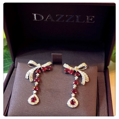 EARRINGS WITH RUBY AND DIAMOND